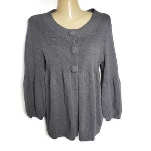 Aphorism Gray Sweater Cardigan Puff Sleeve Large